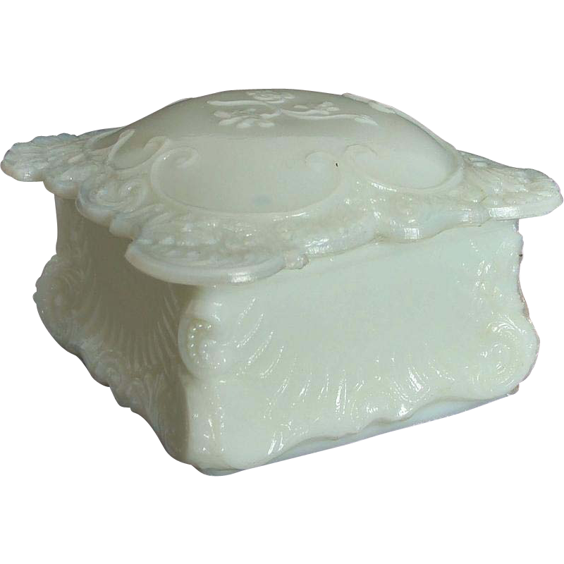 Victorian Rococo Style Glass Trinket Vanity ~ Dressing Table Box with Lid