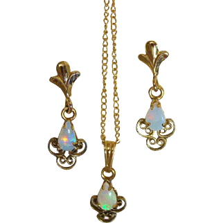 Natural Fire Opals in 12K Yellow Gold Filled Set of Earrings for Pierced Ears, Pendant & Original Chain Necklace