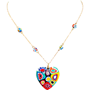 Colorful Hand Blown Millefiori Glass Heart Pendant & Glass Beaded Chain Necklace