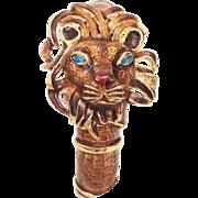 Kenneth Jay Lane Enamel Lion Clamper Bracelet with Rhinestone Ears