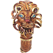Kenneth Jay Lane Enamel Lion Clamper Bracelet with Rhinestone Eyes