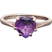 Amethyst Heart Gemstone in Sterling Silver Ring