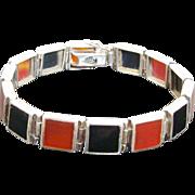 Natural Carnelian & Black Onyx Sterling Silver Link Bracelet