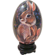 Delightful 1970's Paper Mache Egg with Bunny Rabbit Graphics in Holder