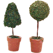 50% OFF Pair of Topiary Trees in Terra Cotta Planter Pots for your Dollhouse