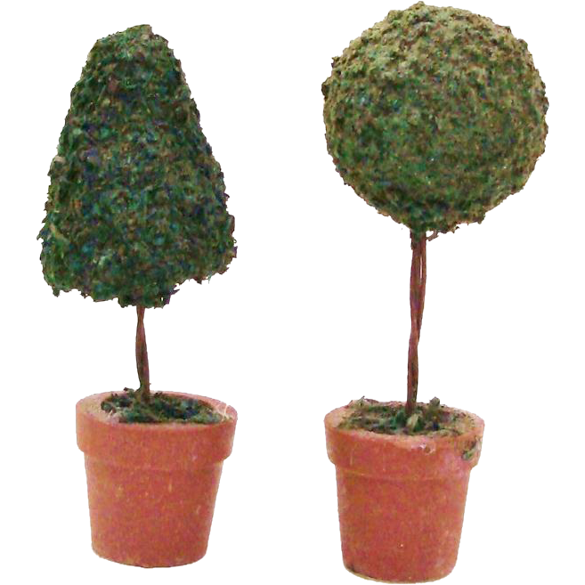 Pair of Topiary Trees in Terra Cotta Planter Pots for your Dollhouse