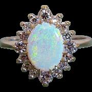 Natural Opal 14K Gold Diamond Halo Setting