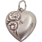 Vintage Sterling Silver Repousse Puffy Heart Charm