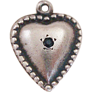 Sterling Silver Puffy Heart Charm with Beaded Edge and Blue Rhinestone