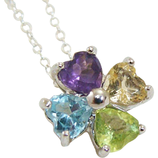 Heart Cut Semi-Precious Multi-Colored Gemstones of Flower ~ Clover Pendant & Delicate Sterling Silver Chain Necklace
