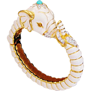 White Enamel & Gold Plated Elephant Hinged Jeweled Clamper By Designer Kenneth Jay Lane ~ K.J.L.