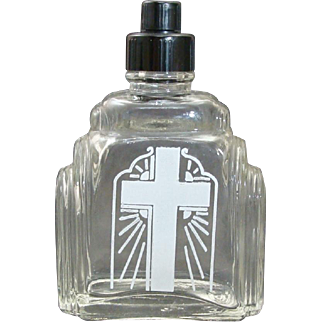 Art Deco Catholic Holy Water Glass Bottle with Bakelite Lid & Cap