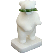 Inuit Carved White Alabaster Bear with Jade Fish