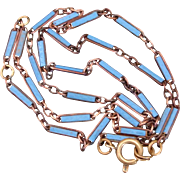 French Art Deco Blue Enameled Brass Necklace