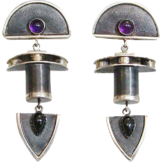 Sterling Silver Gemstones Artisan Handmade Susan Maria Buckley Earrings