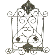 French Country Kitchen Fleur De Lis Metal Cook Book Holder Easel Stand Display
