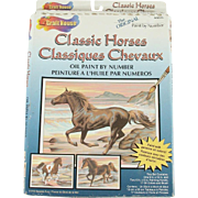 "Vintage Classic Horses ~ Classizues Chevaux New Old Stock Oil Paint by Number ""Sea Side Fury"" Unopened"