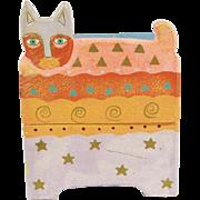 Vintage Laurel Burch Painted Cat Trinket Chest Of Drawers Box
