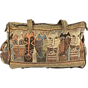 Vintage Laurel Burch Native Feline Faces Travel Bag