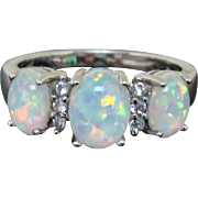 Shimmering Opal Cabochon & Cubic Zirconia Ring in Sterling Silver