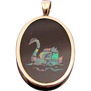 Natural Opal Swan in Black Onyx Bezel Set in 14K Solid Yellow Gold Pendant