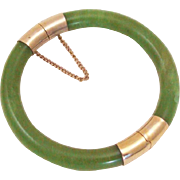 Vintage Nephrite Jade Bangle 10K Gold Plated Hinged Bracelet with Safety Chain