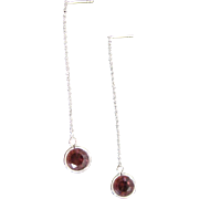 Modern Sterling Silver Bezel Set Round Cut Garnet Gemstones on Threader Dangling Drop Chain Post Earrings
