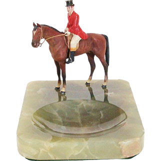 Amazing Cold Painted Bronze Equestrian Horse & Rider Fox Hunter Dresser, Vanity or Desk Onyx Tray