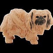 Vintage 1970's Hand Carved Wood Pekingese Dog for Dollhouse