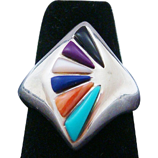 Sterling Silver Multi Stone Native American Zuni Hand Crafted Signed & Dated Ring