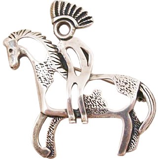 Rare Sterling Silver Native American Warrior Riding Horse by Carolyn Pollack Pin