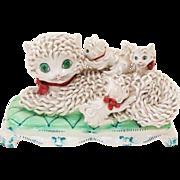 Delightful Italian Ceramic Spaghetti Style Signed Sculpture Mom Cat & Her Three Kittens
