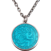 Charles Thomae Sterling Silver Enamel Pendant & Link Chain Necklace ~ St. Christopher