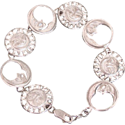 Sterling Silver Celestial Sun & Moon Charm Link Bracelet