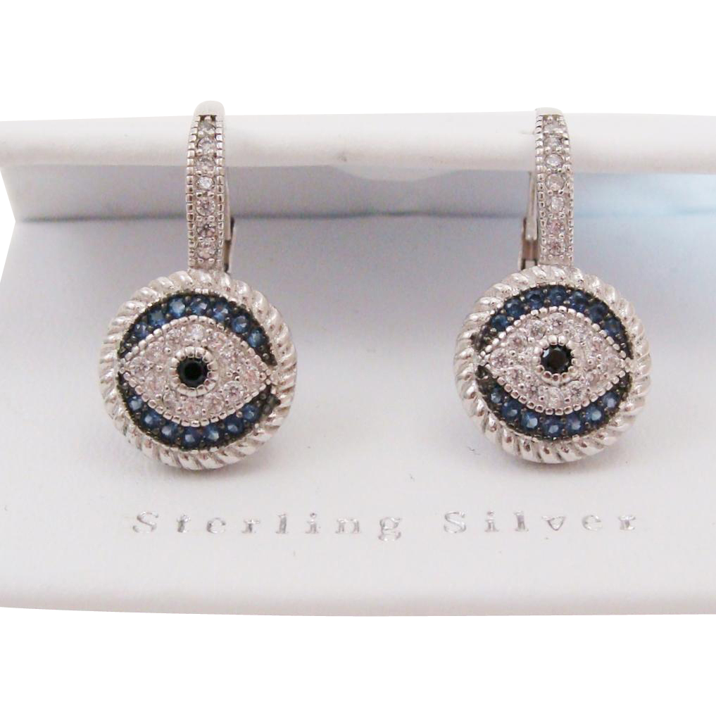 Estate Sterling Silver Evil Eye Semi-Precious Gemstone Earrings