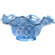 Early Fenton Glass Basket Weave Periwinkle Blue Double Row Opalescent Open Edge Crimped Ruffled Bowl