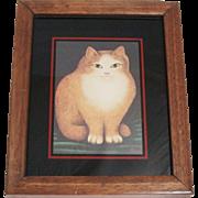 Martin Leman Cat Print In Wood Frame 1970's