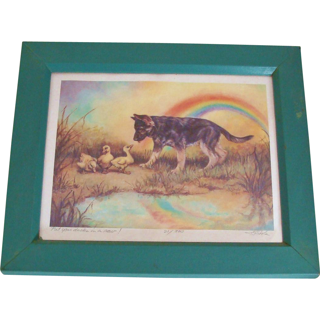 Georgia Cawley Shola Limited Edition Signed & Numbered 1996 Print German Shepherd Dog Puppy