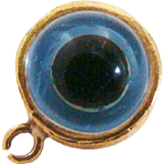 14K Gold Double Sided Glass Evil Eye Charm ~ Pendant with Greek Key Design Frame