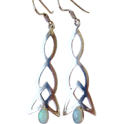 Sterling Silver Opal Celtic Design Dangling Drop Pierced Earrings