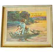 Framed Saint Bernard Dog & Boy on Raft by J. Adams Dated 1936