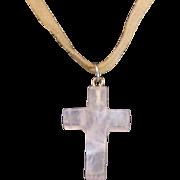 Natural Rose Quartz Carved Cross on Boho Suede Necklace by Designer Ali-Khan New York