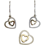 14K Gold & Sterling Silver Heart Earrings & Slide ~ Pendant Set with Diamond Accents
