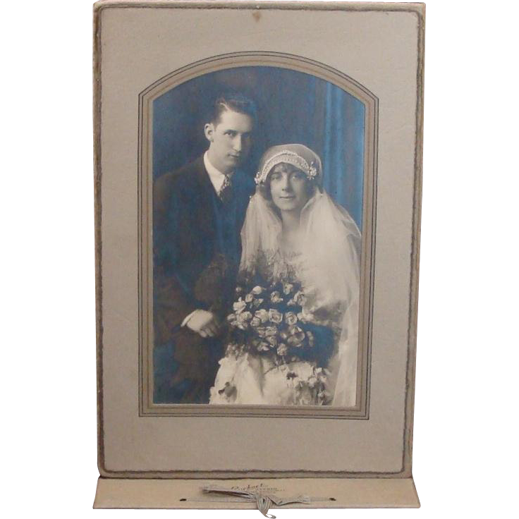 Vintage Wedding Photograph Bride & Groom