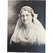 Vintage 1920's Photograph Bride in Dress & Veil