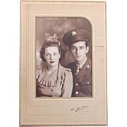 Vintage Photograph of Couple ~ Military Uniform