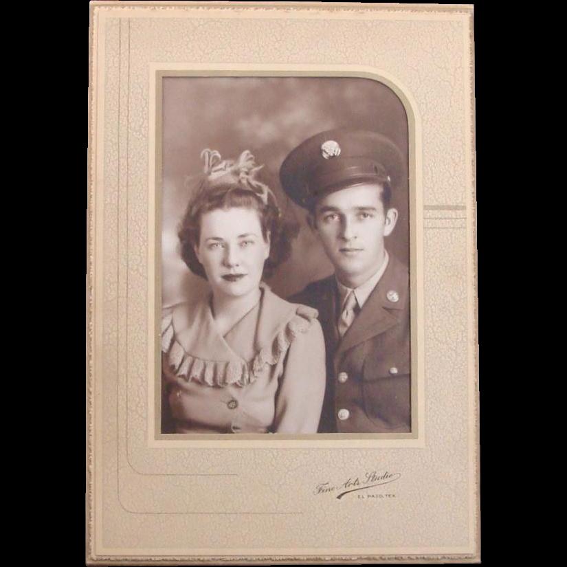 Vintage Photograph of Couple ~ Military Uniform