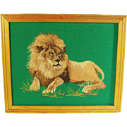 Hand Stitched Framed Needlepoint of Regal & Proud Lion - Red Tag Sale Item