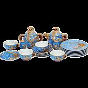 Vintage Porcelain Japanese Nichi Hon (Nippon) Dragonware Moriage Tea Set Lithopane Geisha Girl ~ 22 Piece Set