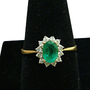 Exquisite Natural Emerald & Diamond 18K Gold Halo Ring